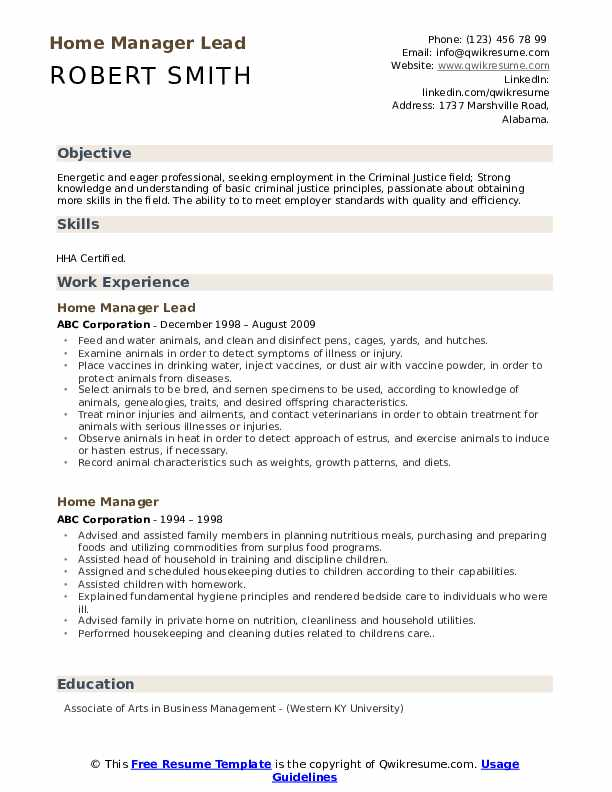 Home Manager Lead Resume Sample