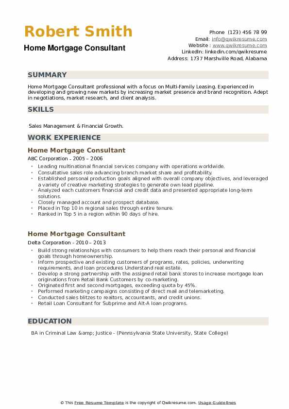 Home Mortgage Consultant Resume example