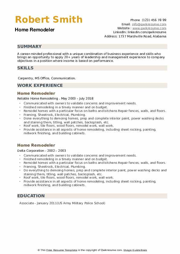 Home Remodeler Resume example