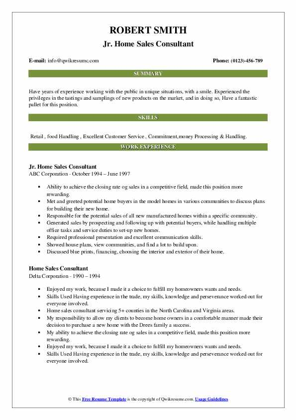 home sales consultant resume samples  qwikresume