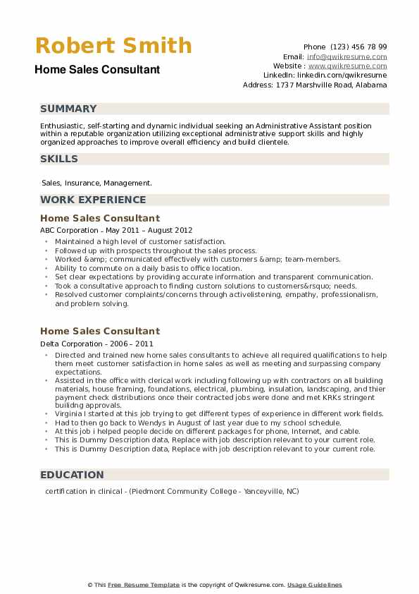 Home Sales Consultant Resume example