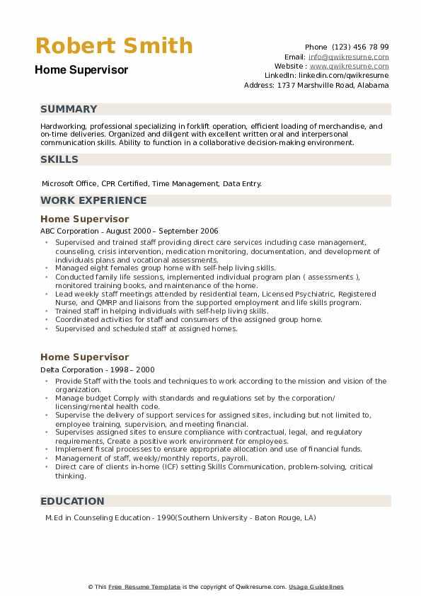 Home Supervisor Resume example