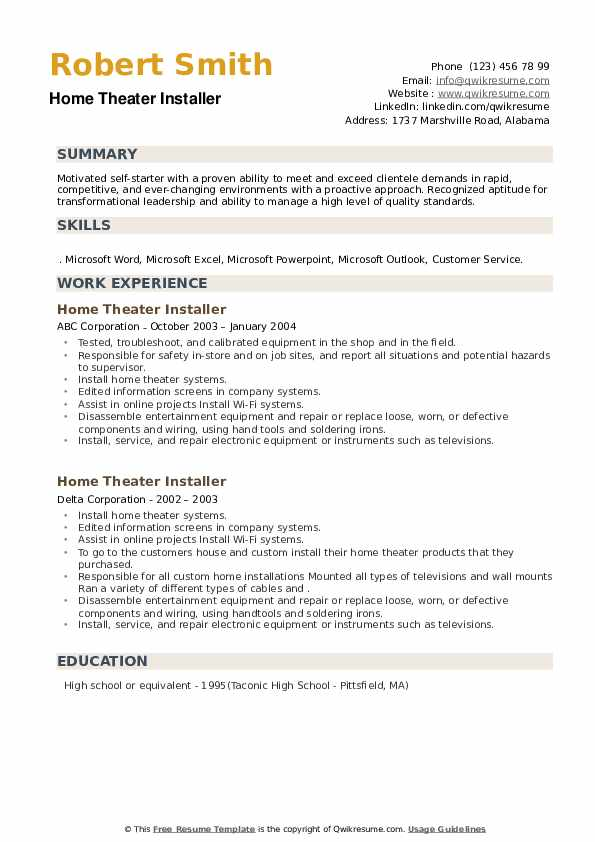 Home Theater Installer Resume example