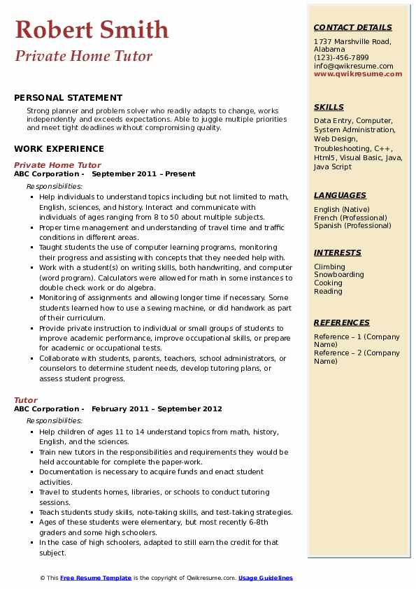 Private Home Tutor Resume Example