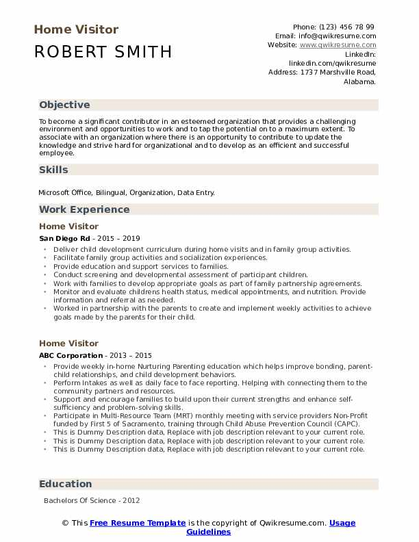 Home Visitor Resume example