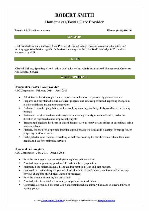 Homemaker/Foster Care Provider Resume Example