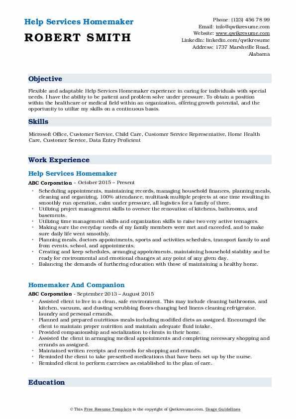 Help Services Homemaker Resume Sample