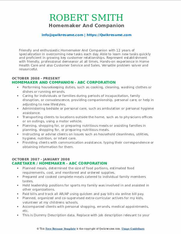Homemaker And Companion Resume Format