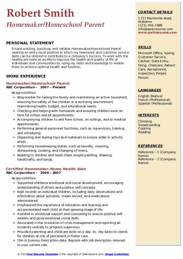 Homemaker/Homeschool Parent Resume Format