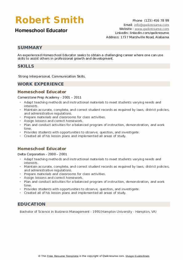 Homeschool Educator Resume example