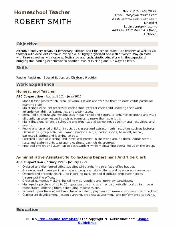 Homeschool Teacher Resume Example