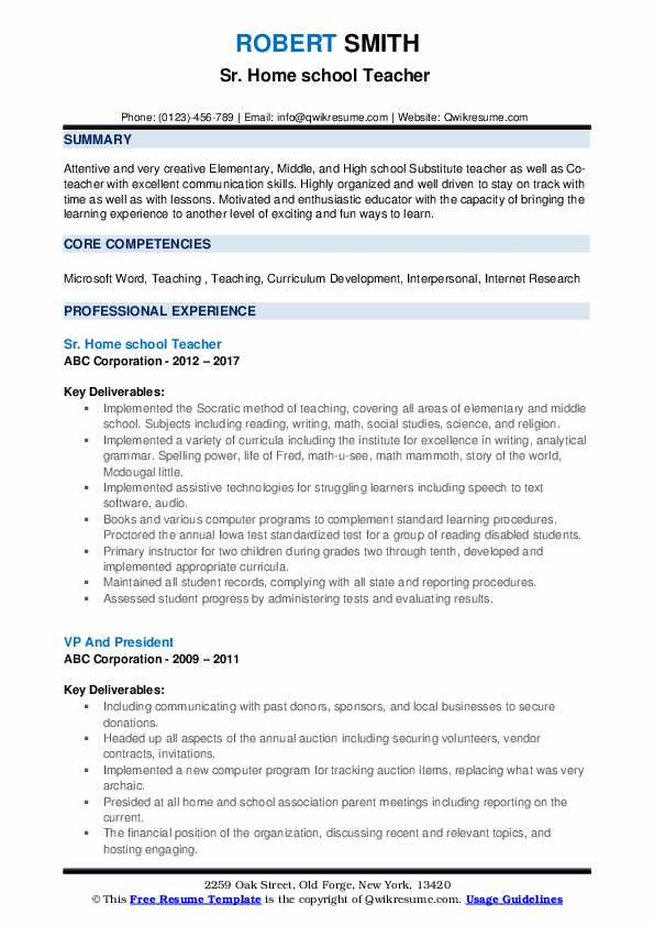 Sr. Home school Teacher  Resume Template