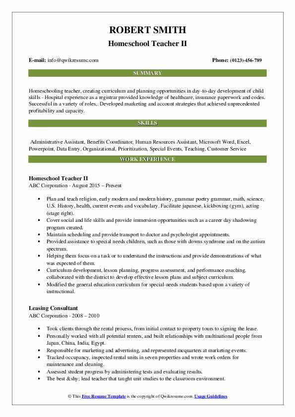homeschool teacher resume samples