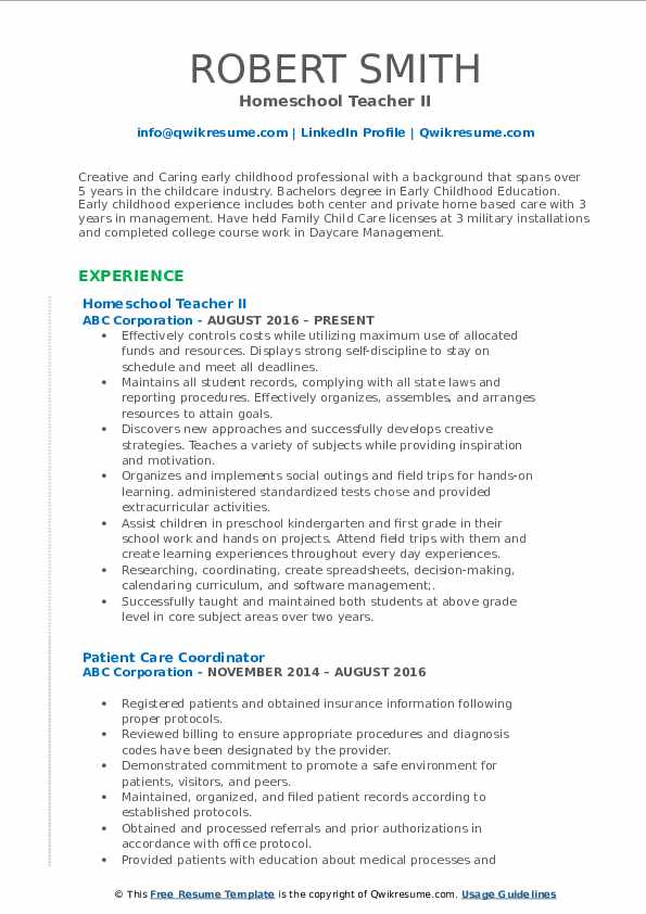 Homeschool Teacher II Resume Format