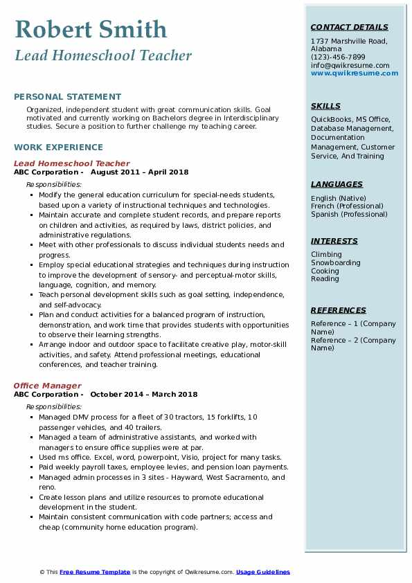 Lead Homeschool Teacher Resume Format