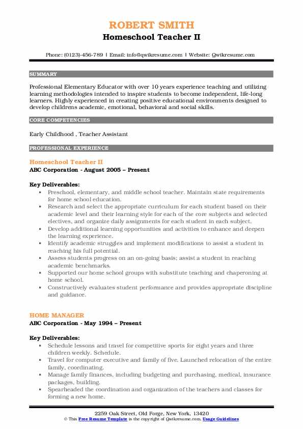 Homeschool Teacher II Resume Template