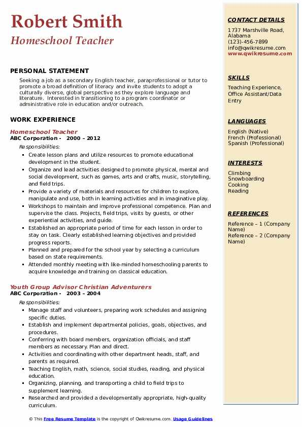 Homeschool Teacher Resume Sample