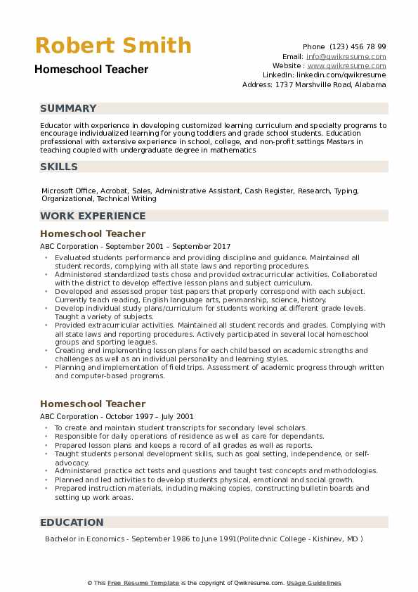Homeschool Teacher Resume Model
