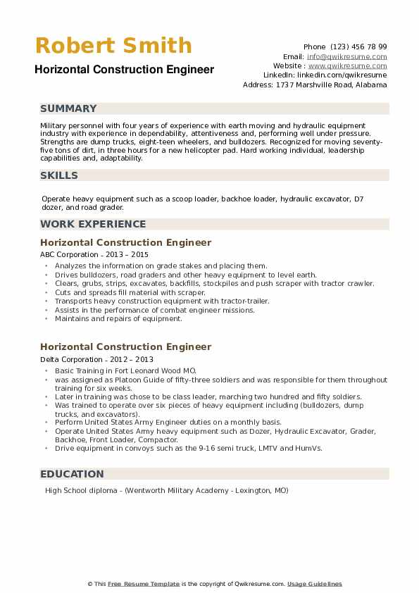 Horizontal Construction Engineer Resume example