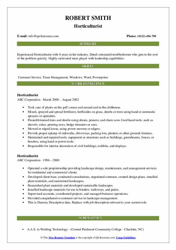 Horticulturist Resume example