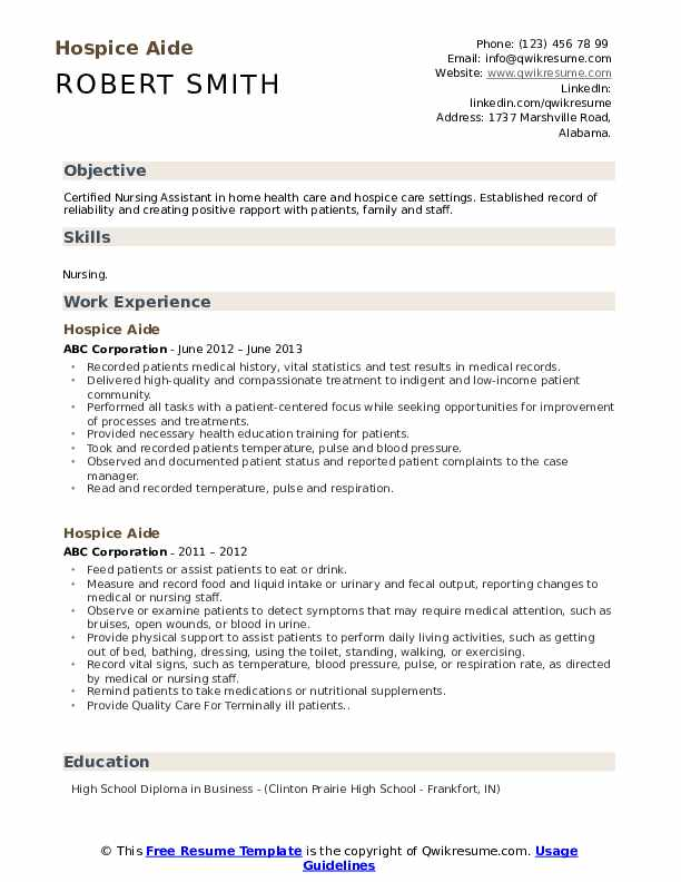 Hospice Aide Resume Example