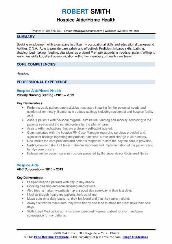 Hospice Aide/Home Health Resume Sample