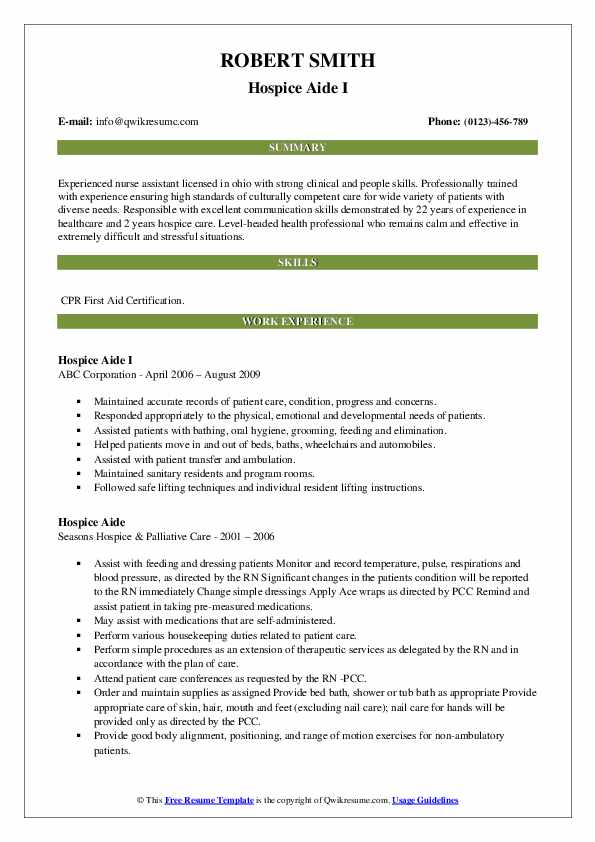Hospice Aide I Resume Format