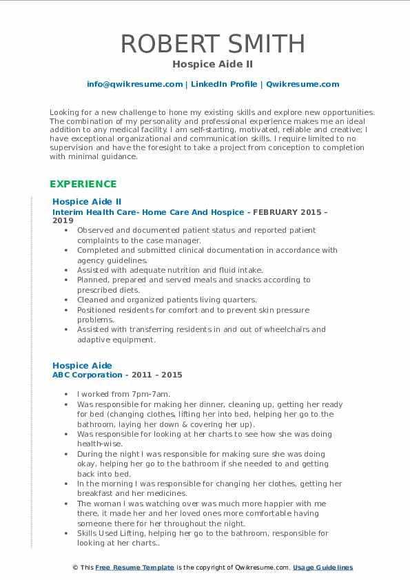 Hospice Aide II Resume Sample
