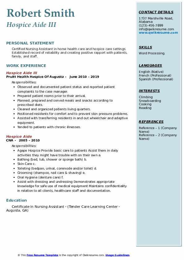Hospice Aide III Resume Sample