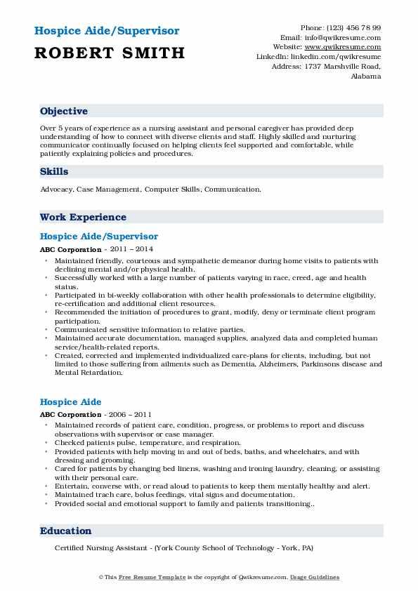 Hospice Aide/Supervisor Resume Model