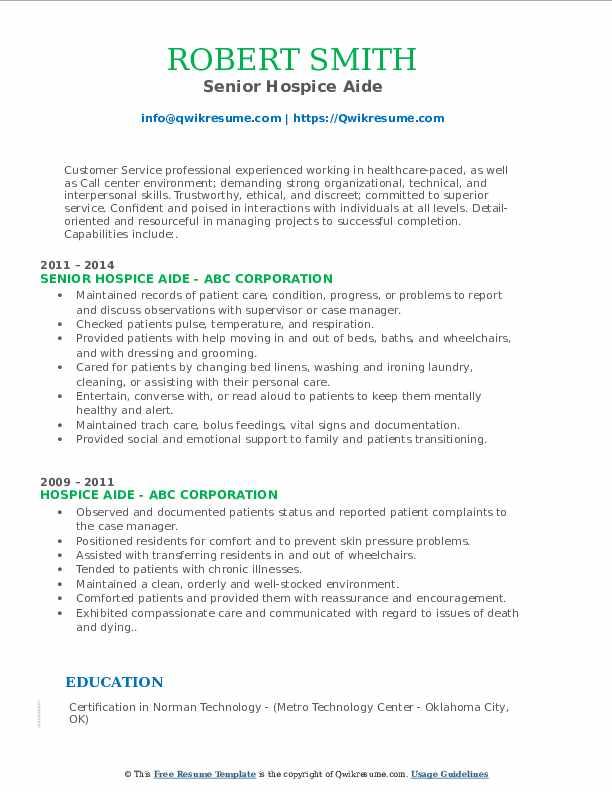 Senior Hospice Aide Resume Format