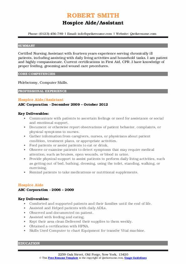 Hospice Aide/Assistant Resume Model
