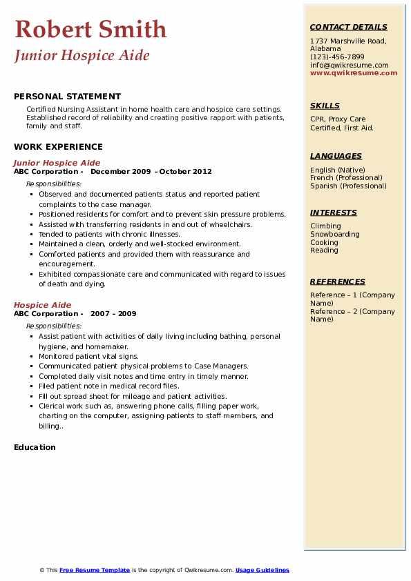 Junior Hospice Aide Resume Format