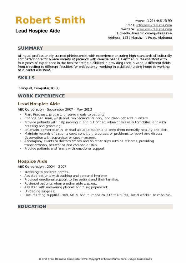 Lead Hospice Aide Resume Sample