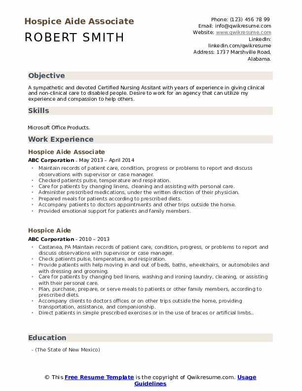 Hospice Aide Associate Resume Template
