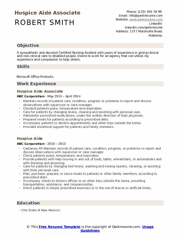 Hospice Aide Associate Resume Model