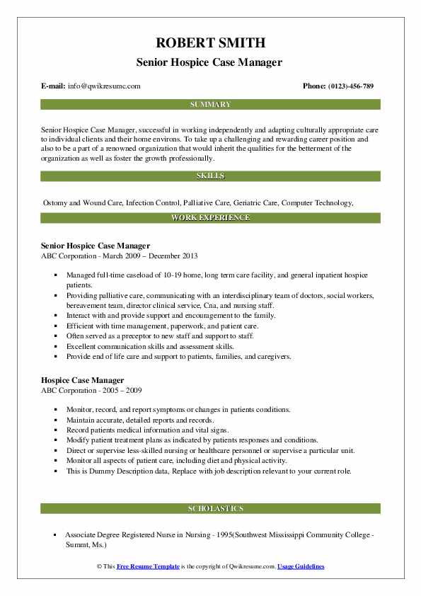 hospice case manager resume samples