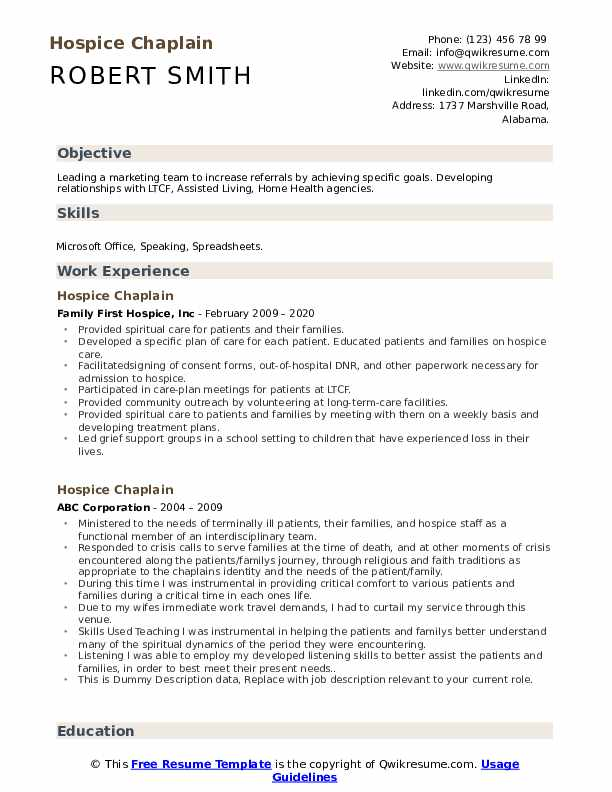 Hospice Chaplain Resume example
