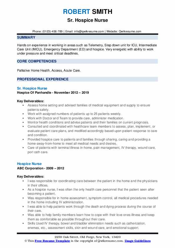 Hospice Nurse Resume Samples | QwikResume