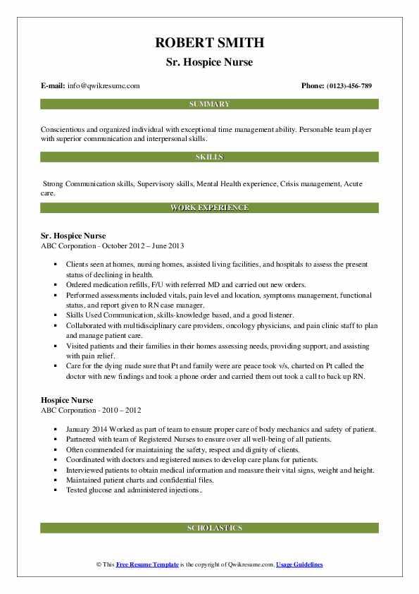 Sr. Hospice Nurse Resume Format