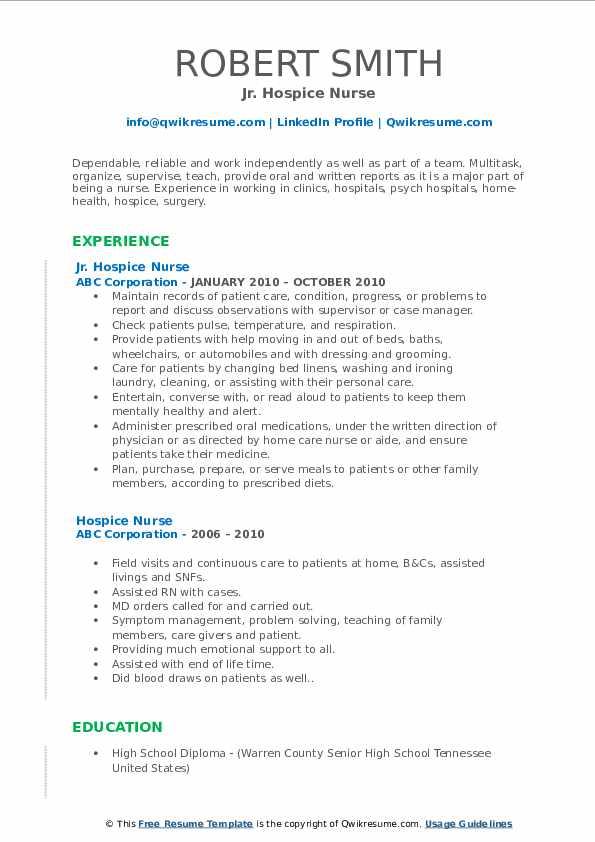Jr. Hospice Nurse Resume Example