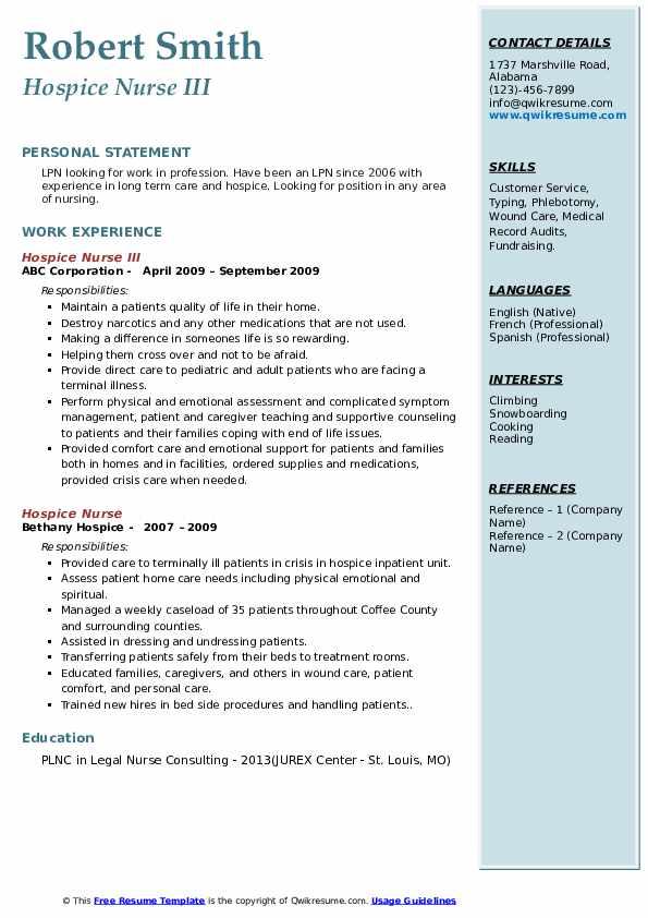 Hospice Nurse III Resume Example