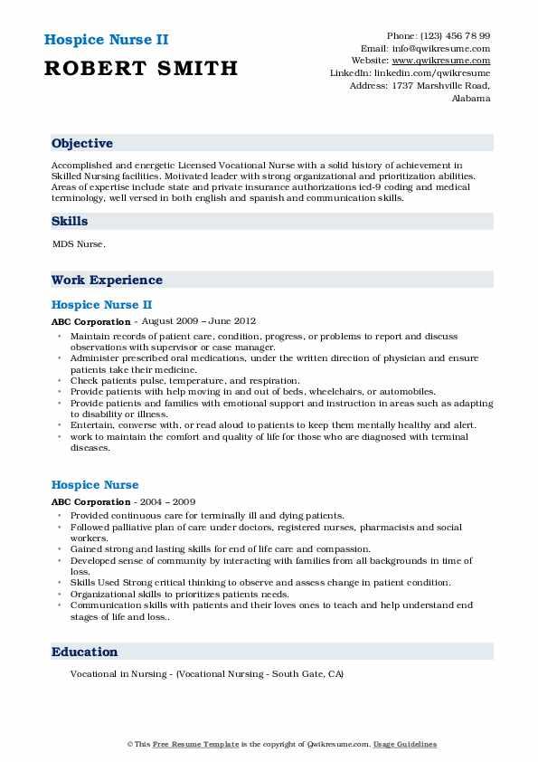 Hospice Nurse II Resume Sample