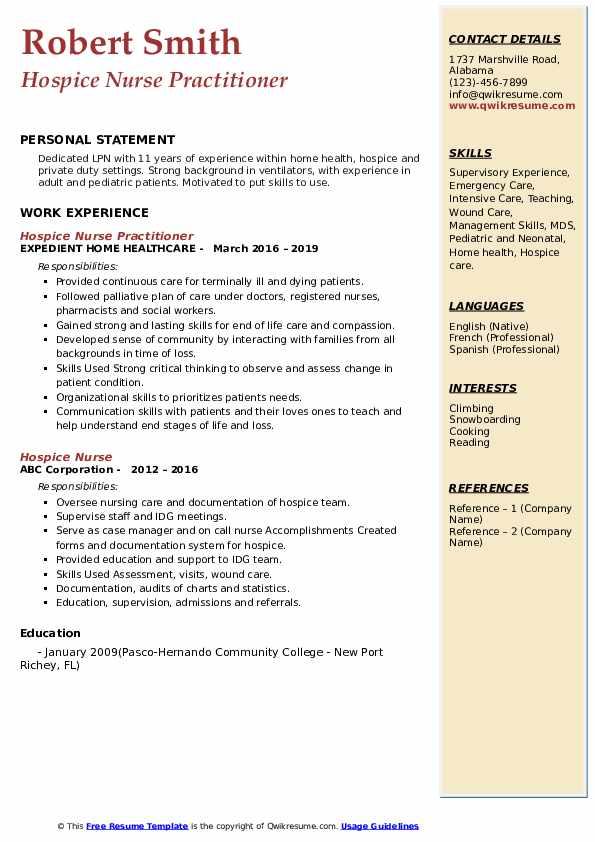 hospice nurse resume samples
