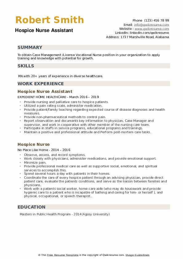 Hospice Nurse Assistant Resume Model