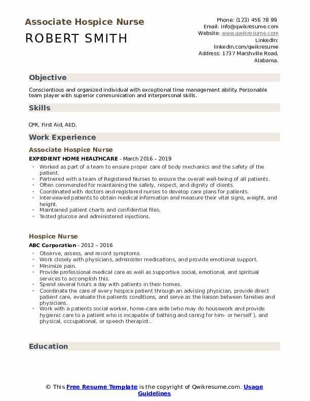 Associate Hospice Nurse Resume Model