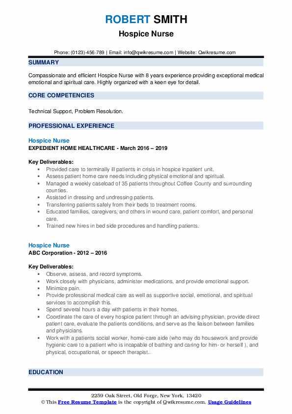 Hospice Nurse Resume example