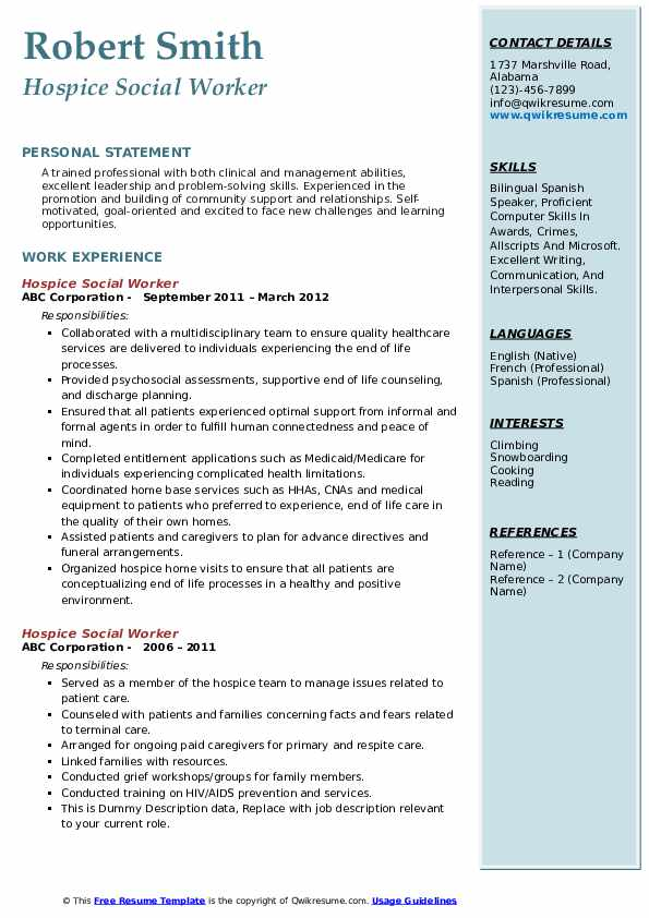 Hospice Social Worker Resume example