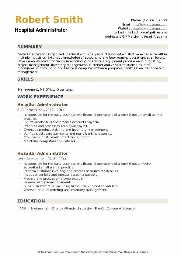 Hospital Administrator Resume example