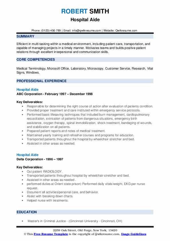 Hospital aide resume ib economics extended essay criteria